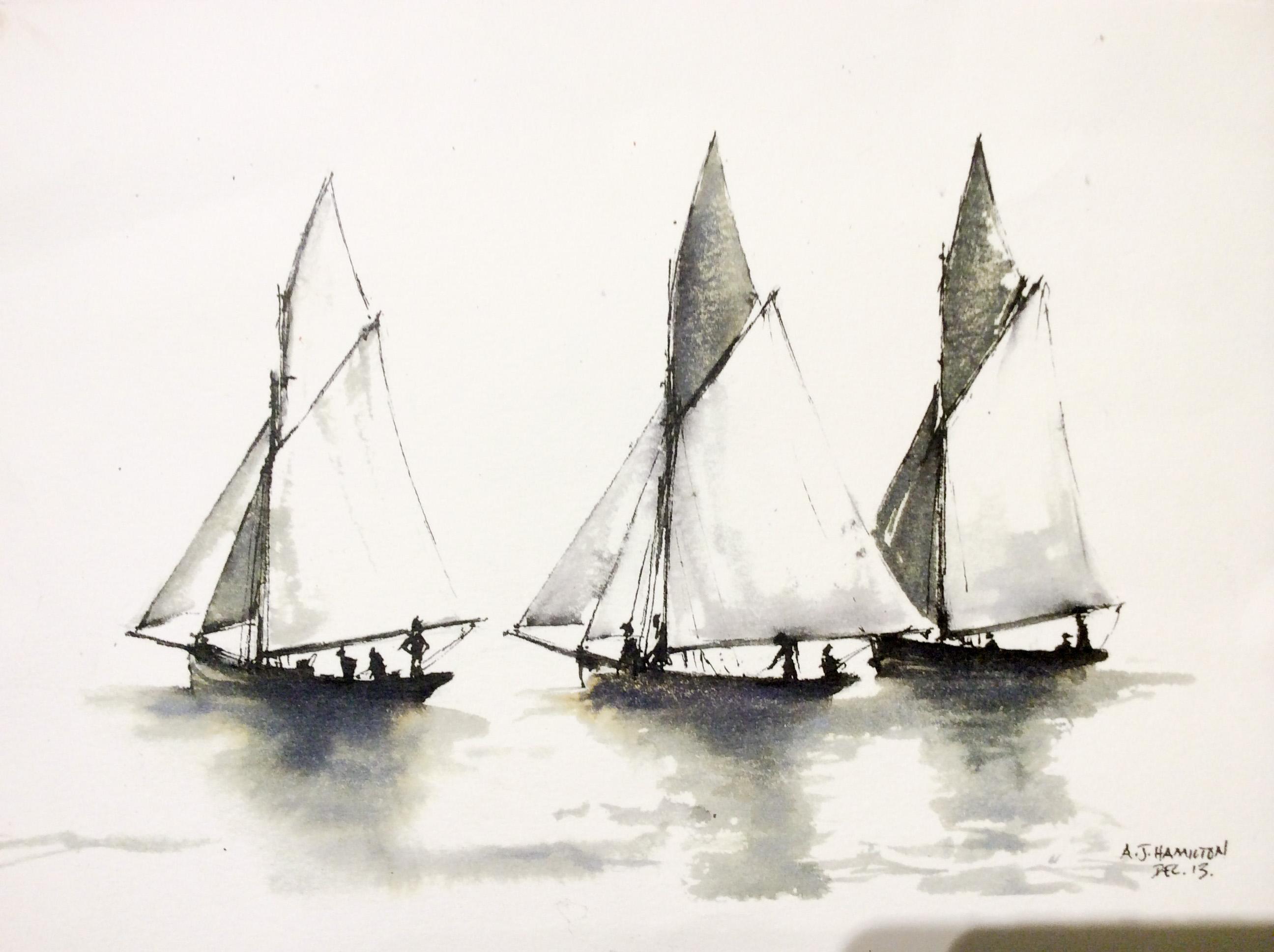 Nautical Sketch - Alexander Hamilton - Artist - London