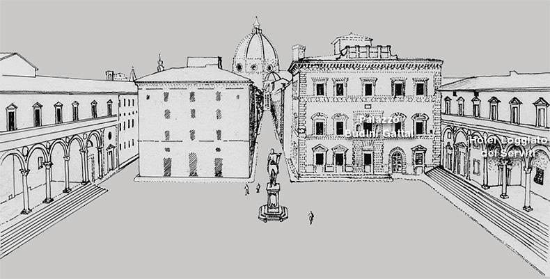 Palazzo Budini Gattai and the Loggiato dei Serviti Firenze Florence