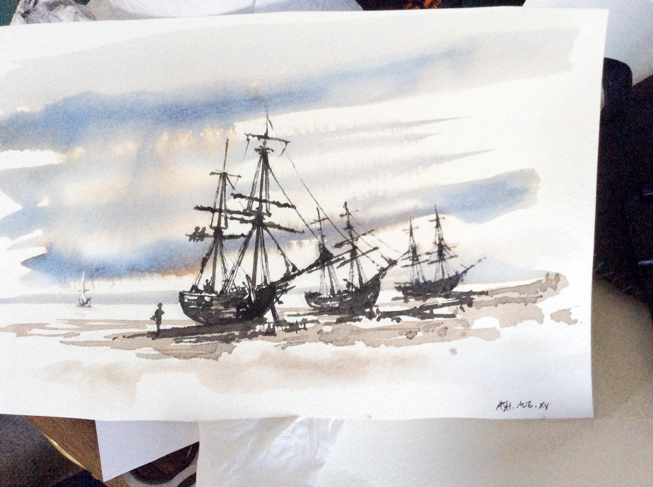 Sailing vessels on beach - Alexander Hamilton - Painter - London