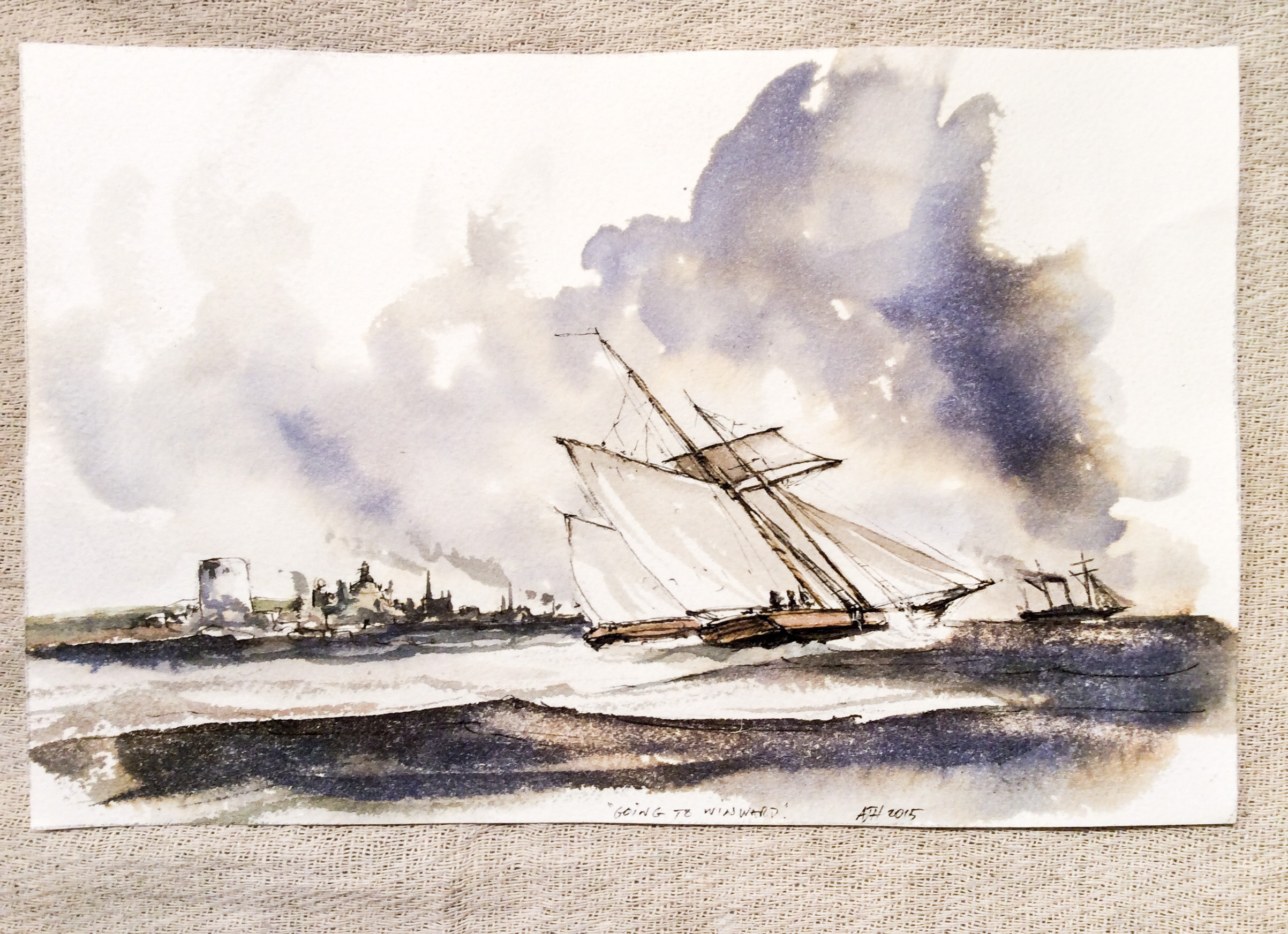 Seascape sketch - Alexander Hamilton - Decorative Artist - London