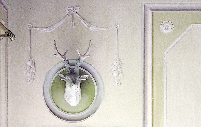 Trompe l oeil - Stag Head - Alexander Hamilton - Decorative Painting Studio - London