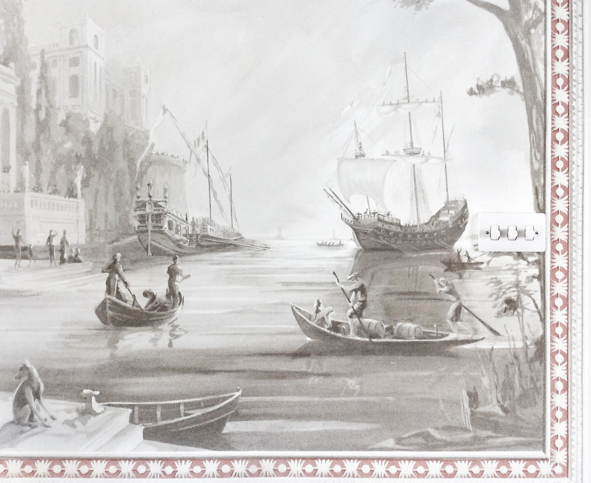 Embarking for Lepanto mural - Alexander Hamilton - Decorative Artist - London