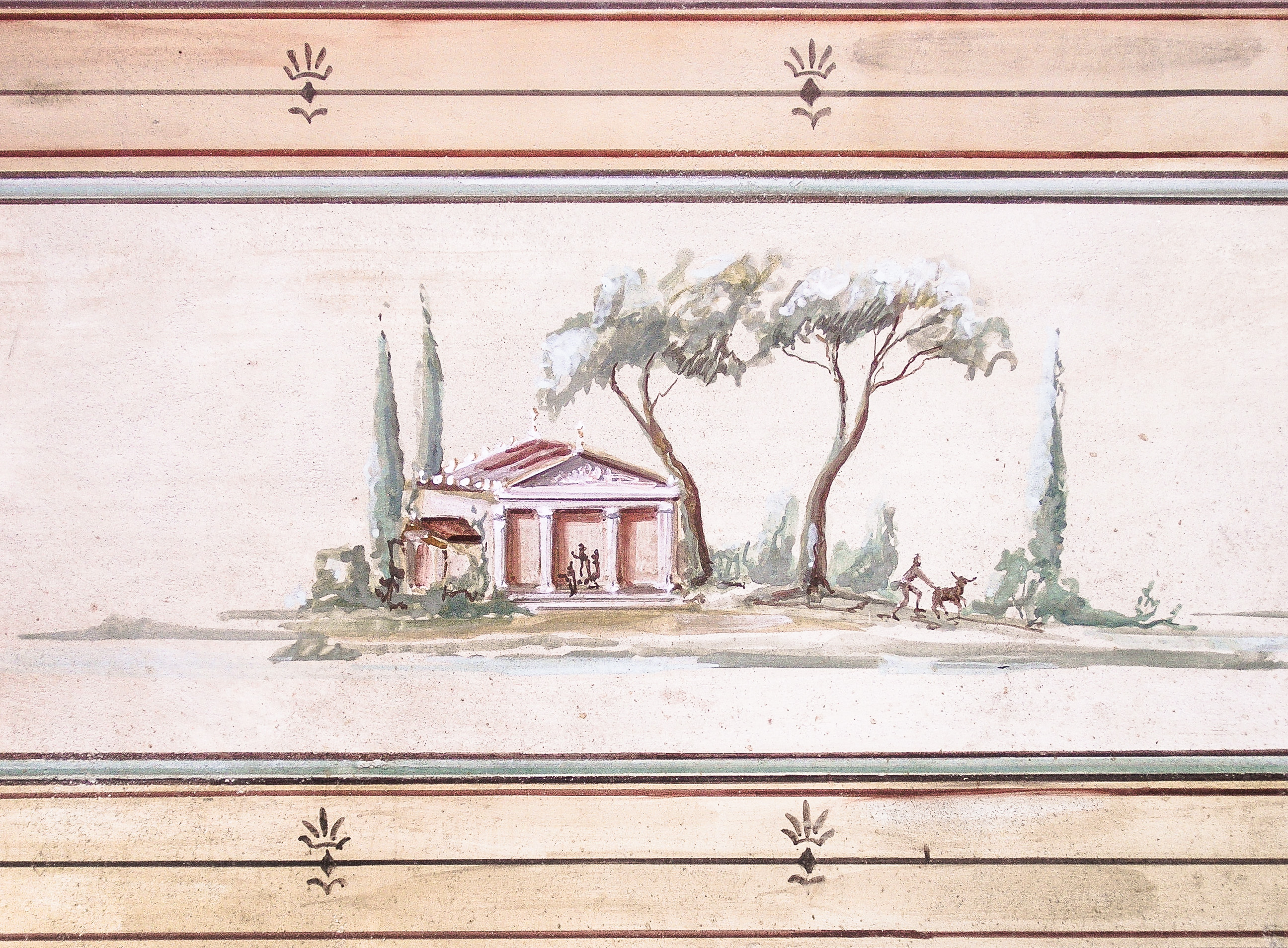 Pompeian landscape mural - Alexander Hamilton - Decorative Painter - London