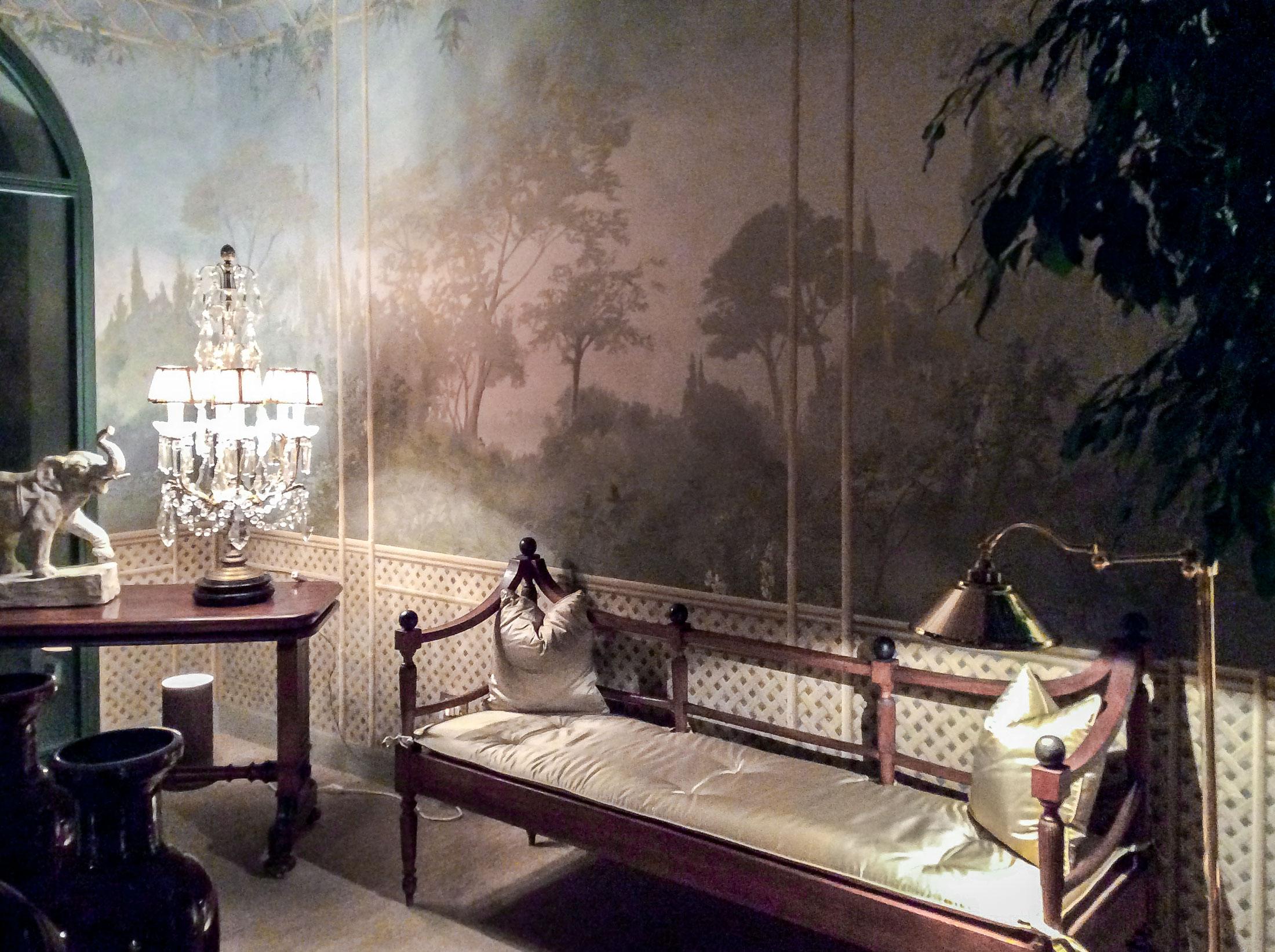 Bamboo pergola at night - Alexander Hamilton - Decorative Artist - London
