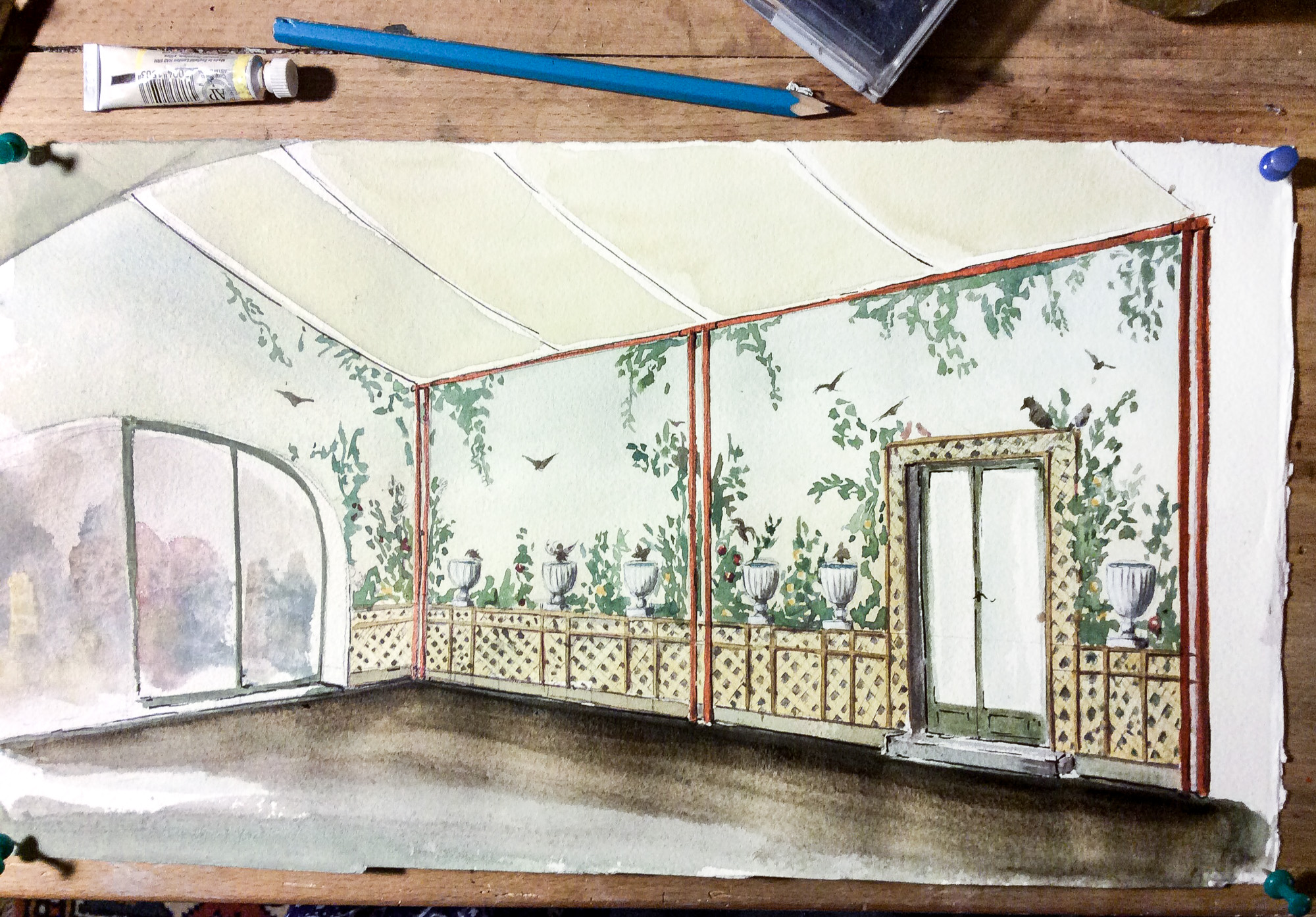 Sketch cane pergola - Alexander Hamilton - Decorative Artist - London