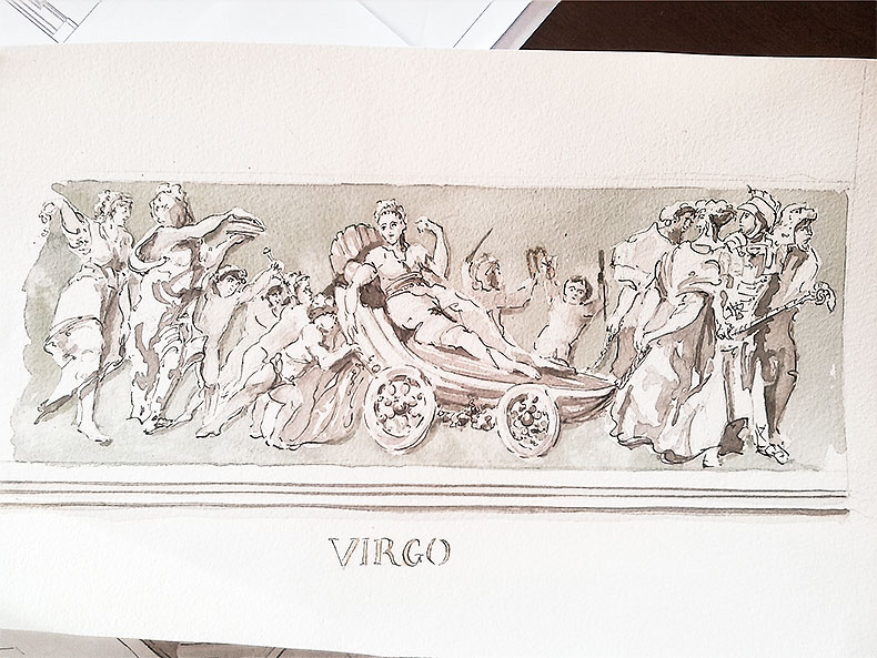 Virgo Zodiac Sketch - Alexander Hamilton - Decorative Painter - London