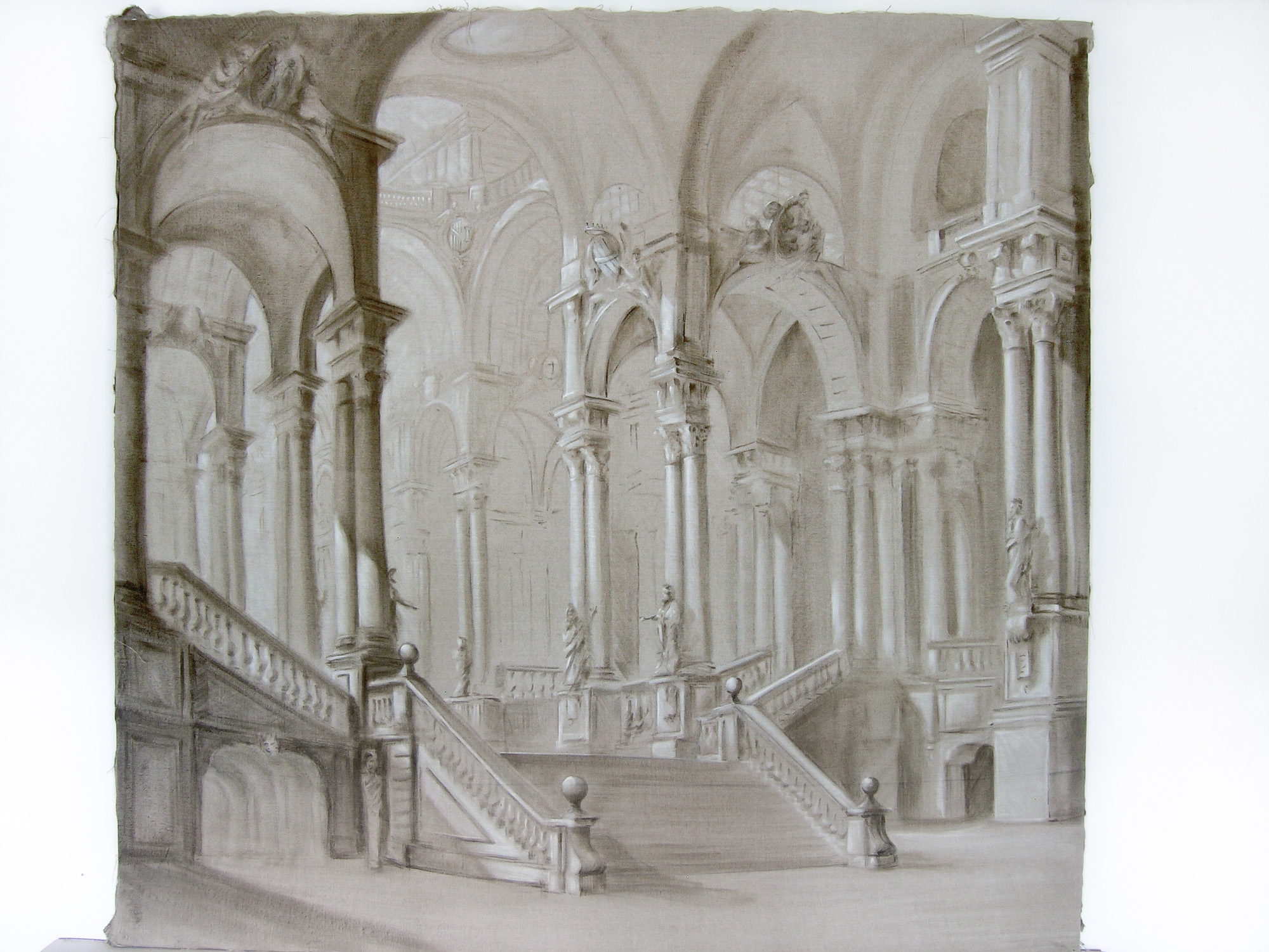 Painted linen - Architectural scene - Alexander Hamilton - Decorative Painter - London